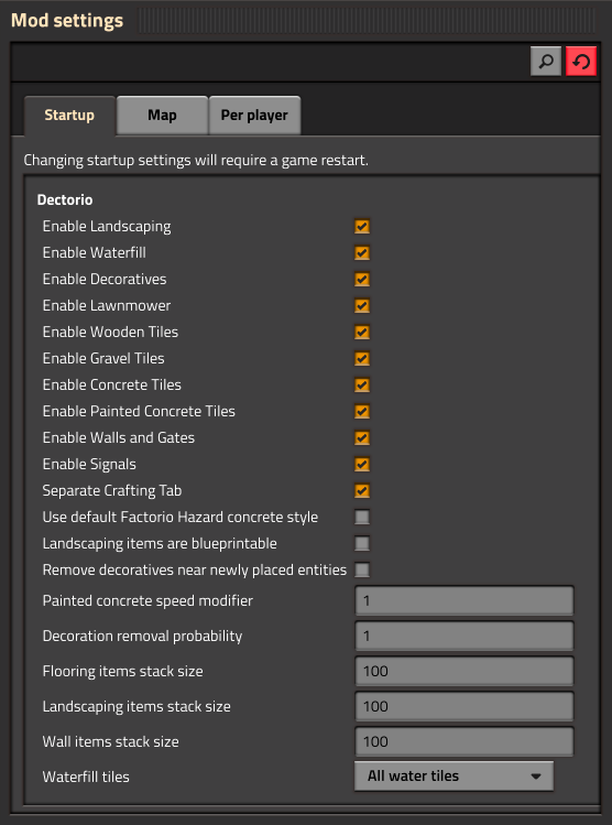 Items Above Marked Can Be Further Customised In The Mod Settings Dialog
